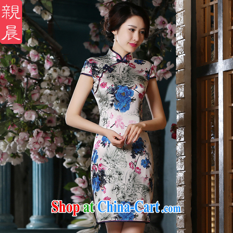 pro-am 2015 new summer day silk sauna silk improved stylish dresses beauty retro short-sleeved dresses short 2 XL - 10 day shipping
