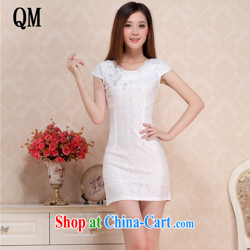 light at the Summer Beauty Fashion sexy lace cheongsam elegance short cheongsam dress retro small dress dresses female AQE 0752 white XXL