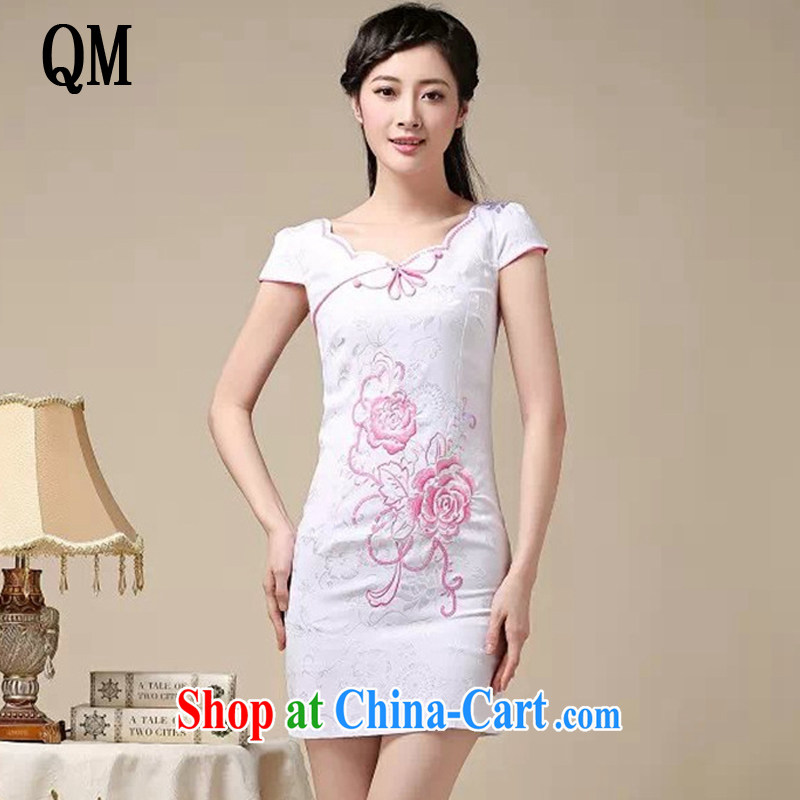 The end light summer cotton embroidered short cheongsam elegance ladies fashion dresses skirts AQE 0755 pink XXL
