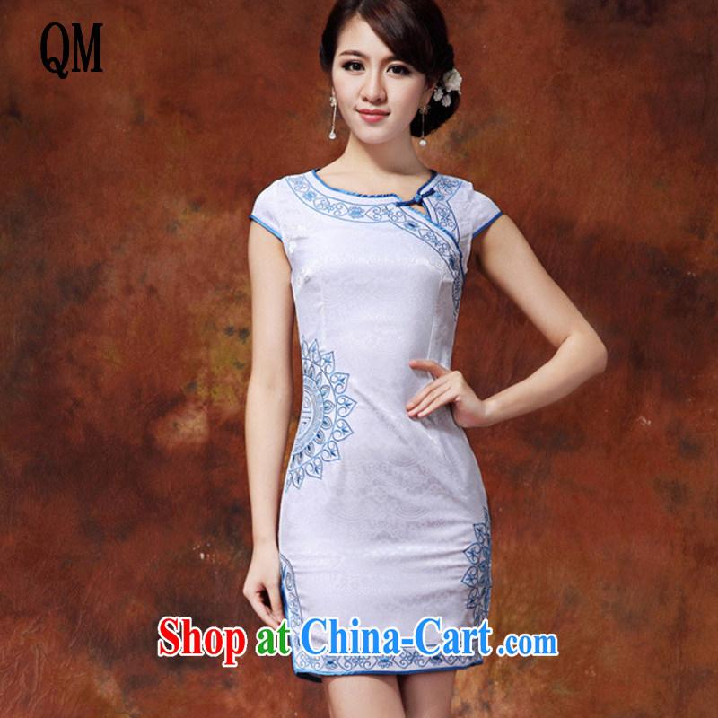 Shallow end embroidered lotus petals short qipao cotton-maize cheongsam dress dress summer dress AQE 920 blue XXL