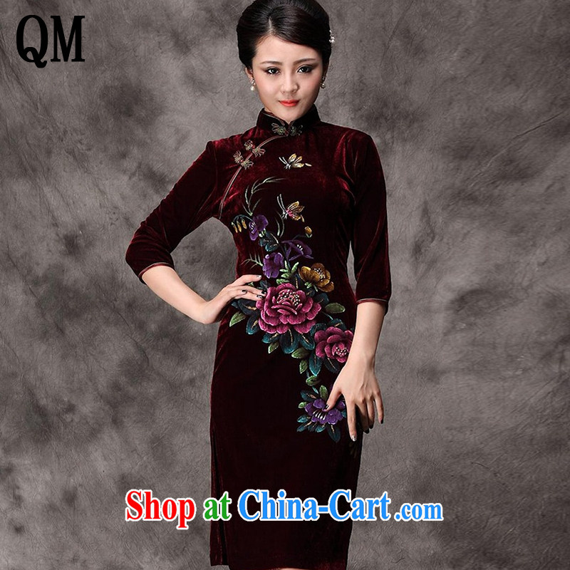 Light In the end long-sleeved gold velour cheongsam dress hand-painted peony flowers, old mother married dresses with Chinese AQE 8868 wine red sleeved XXXXL