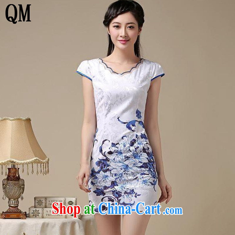 Shallow end round-collar retro blue and stamp duty cheongsam dress stylish everyday minimalist dress sense of Cultivating Female AQE 8219 Blue on white flower XXL
