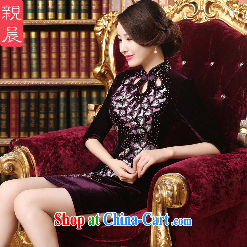 pro-am, new daily improved mother dresses, long-sleeved, long-staple wool beads large, middle-aged and older dresses short 2 XL
