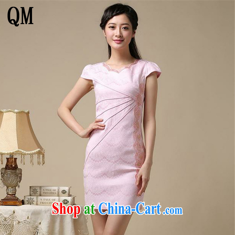 light at the Summer elegance beauty, short dresses retro improved daily cheongsam dress AQE 8168 pink S