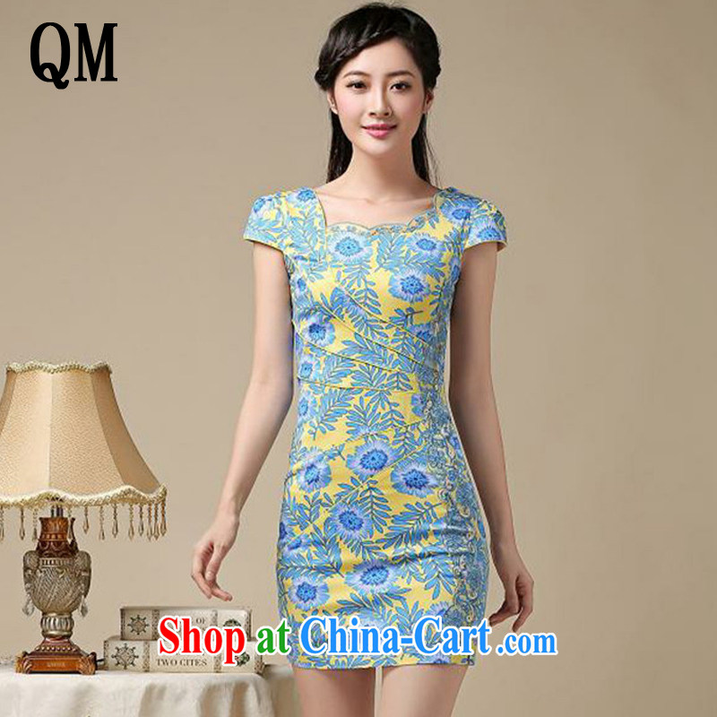 End very stylish floral short cheongsam beauty graphics thin large code cheongsam dress retro improved daily Chinese female AQE 8215 yellow XXL