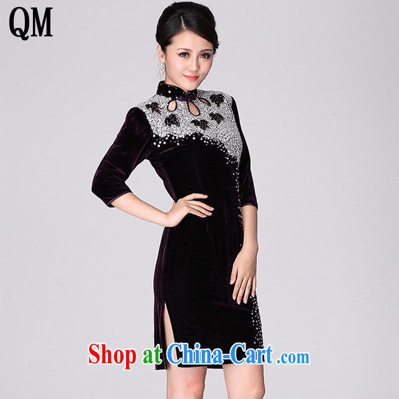 Shallow end, high-end gold velour cheongsam dress wedding dress MOM XL 7 cuff toast serving female AQE 813 purple cuff in XXXXL