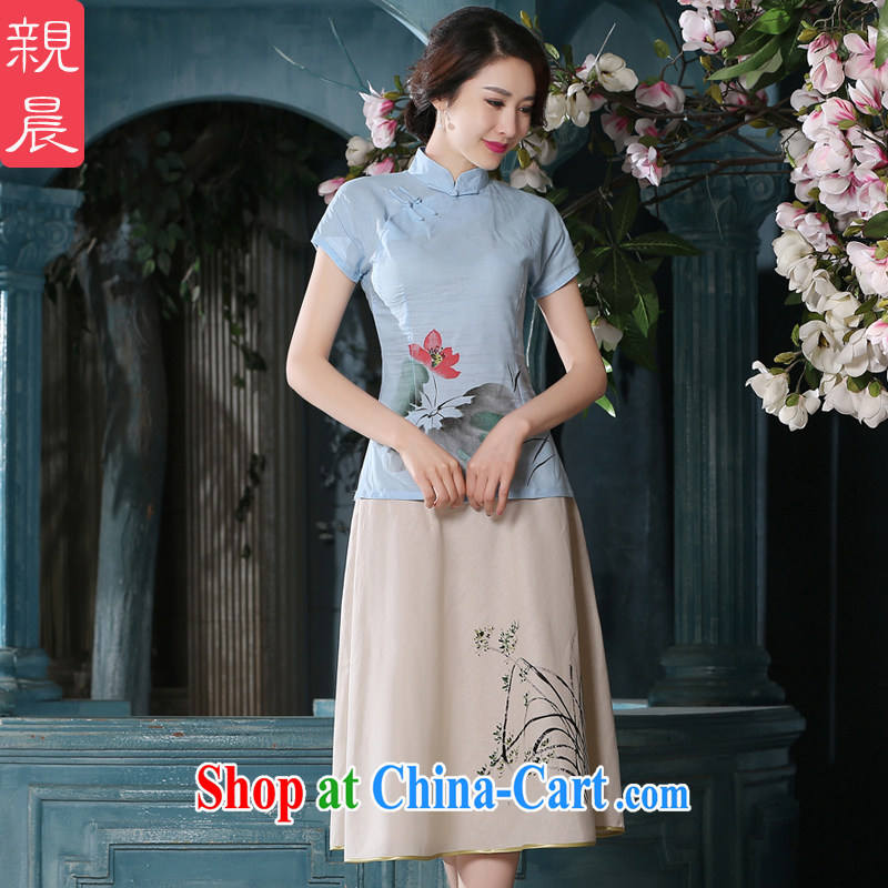 pro-am summer day National wind women's clothing cotton the Chinese Chinese Antique linen package improved cheongsam girls T-shirt A 0079 - A T-shirt + P 0011 skirt XL