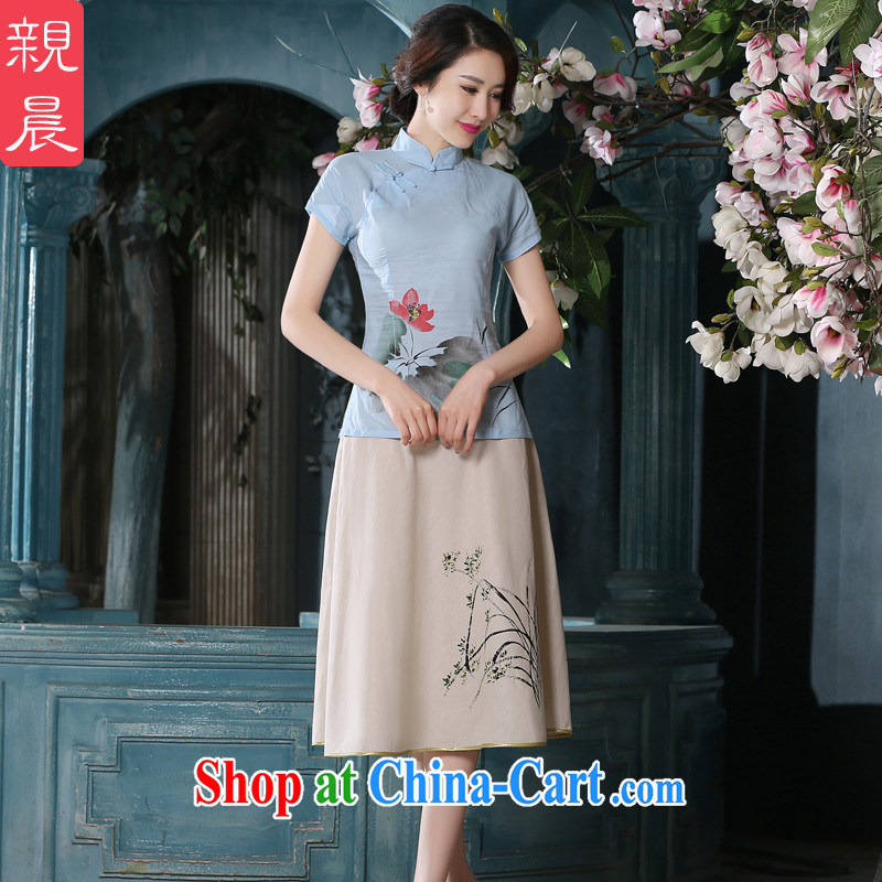 pro-am with summer-day Ethnic Wind female cotton the Chinese Chinese Antique linen package improved cheongsam girls T-shirt A 0079 - A T-shirt + P 0011 skirt XL, pro-am, online shopping
