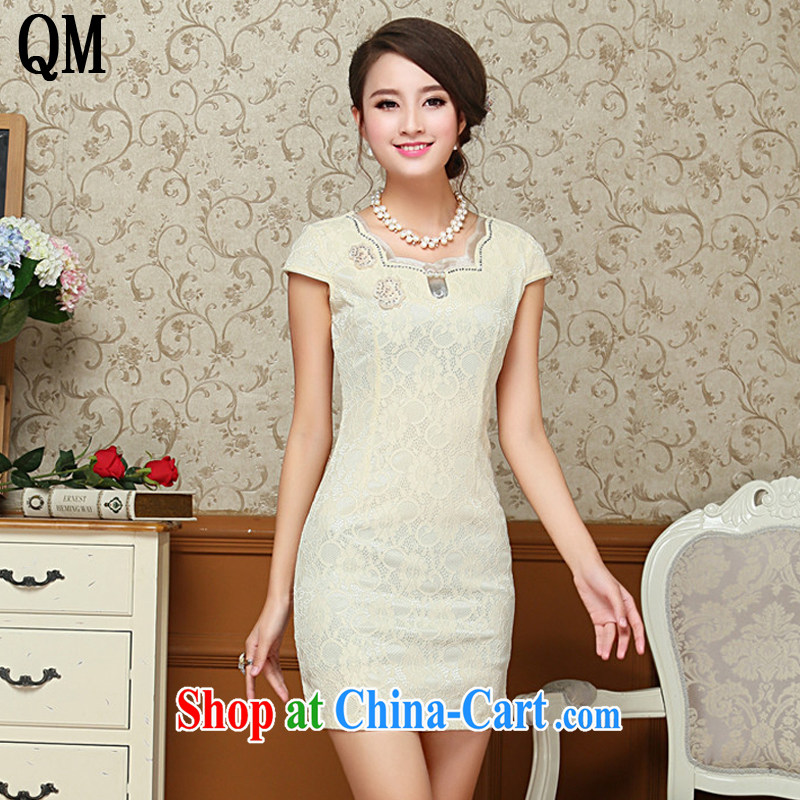 Shallow end decorated in summer, package and lace dresses, dresses elegance antique dresses Chinese AQE 801 apricot XXL