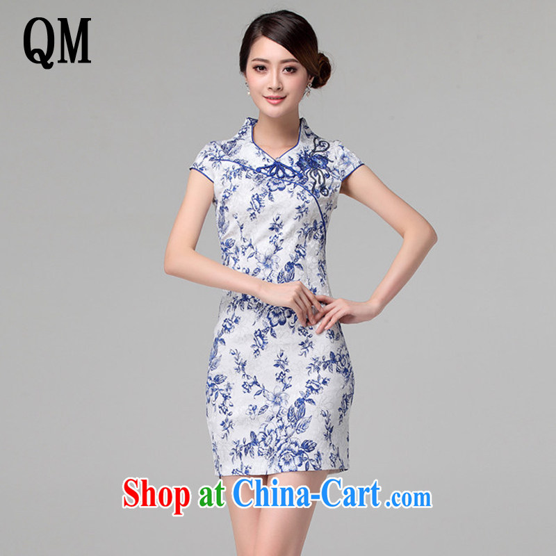 light at the retro blue and white porcelain stamp cheongsam Chinese improved daily short Ki robe-summer female AQE 802 blue and white porcelain M