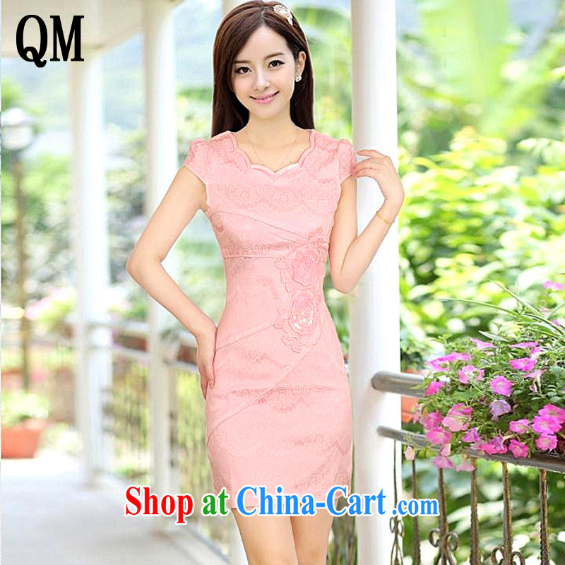 Light last summer short cotton dresses retro improved daily cheongsam dress elegance dresses AQE 8023 pink XXL
