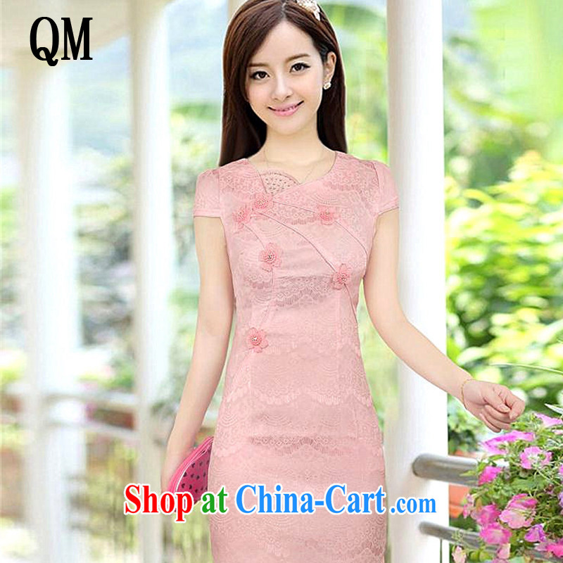 light at the Summer sweet cute girl cheongsam short retro fashion cheongsam dress, dresses, 8030 AQE pink XXL