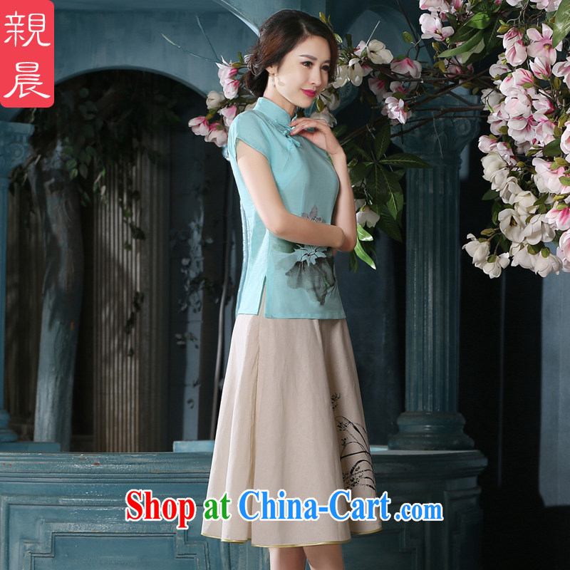 The summer morning with new products cotton the female Chinese daily retro Upgrade Kit Chinese Ethnic Wind cheongsam girls T-shirt A 0079 - C T-shirt + P 0011 skirt XL