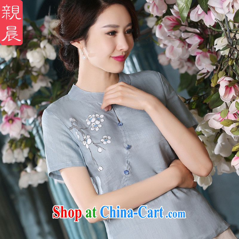 pro-am summer 2015 the new daily improved hand-painted Chinese Han-Chinese qipao Ethnic Wind cotton Ma girls T-shirt 0075 A L T-shirt
