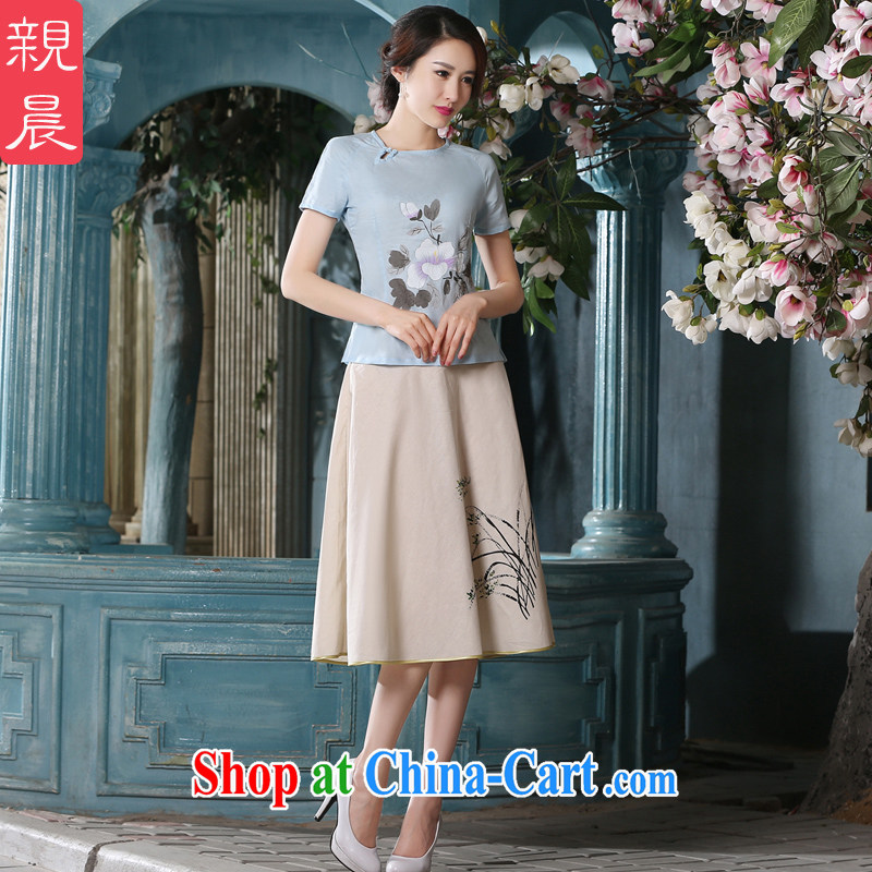 pro-am summer 2015 the new daily improvement package short skirts retro cotton mA short-sleeved literary women dresses A T-shirt 0074 T-shirt + P 0011 skirt XL