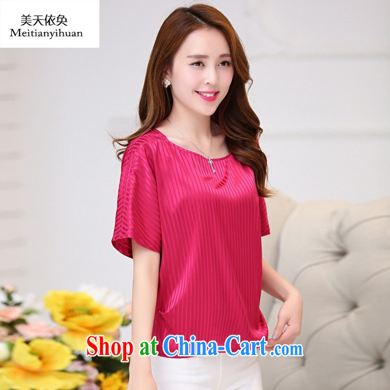Summer 2015 new heavy silk T-shirt short-sleeved loose the code dos santos Hangzhou silk T-shirts female Red 2 XL