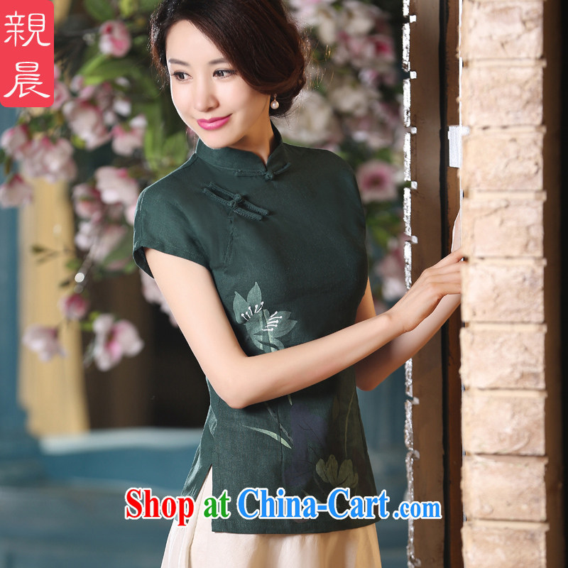 pro-am new daily improved linen cotton the retro Tang with the snap-style robes short-sleeved clothes dresses T-shirt A 0067 - a T-shirt 2 XL