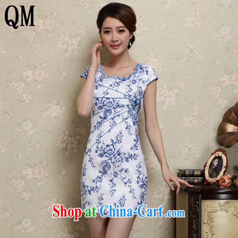 Shallow end decorated in summer, short dresses retro improved daily Korea fashion round collar dress AQE 1020 blue and white porcelain XXL