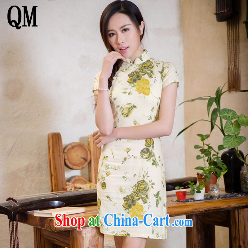 Shallow end elegance cultivating short-sleeved cotton Ma dresses retro style improved short large code cheongsam dress AQE 2088 yellow rose XXL