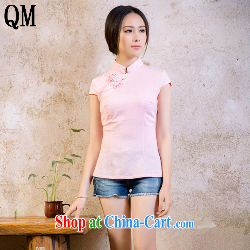 Shallow End Of Korea small fresh linen Pure pigment Chinese T-shirt retro improved daily short-sleeved shirt AQE 2065 pink XXL