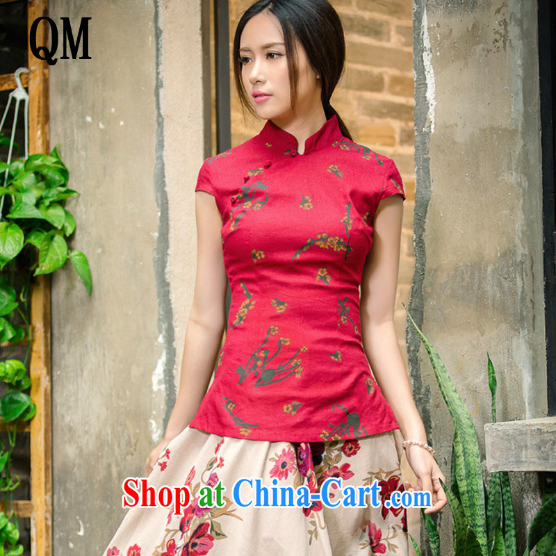 light cotton end the T-shirt low-power's short-sleeved linen dresses up retro shirt AQE 2062 red XXL