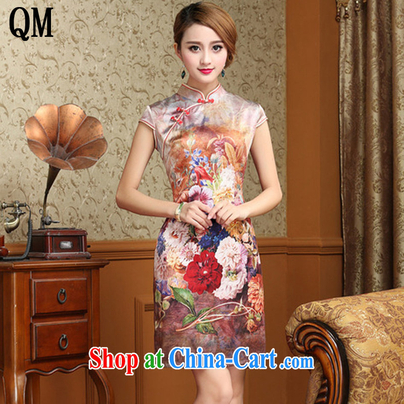 light at the Summer heavy Silk Cheongsam dress beauty antique Chinese qipao dresses AQE 8054 Map Color XXXL
