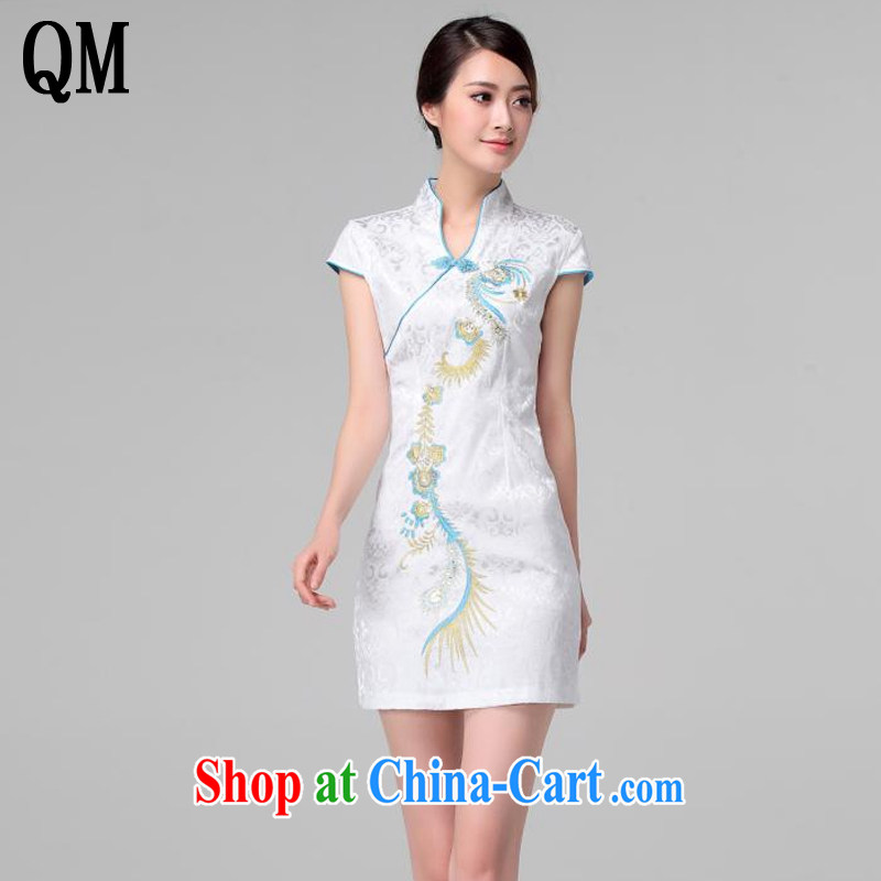 light at the retro embroidery Phoenix short-sleeved qipao improved daily dresses, dresses of Korea Tang women AQE 613 blue XXL