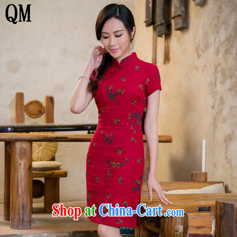 light cotton end the cheongsam dress retro fashion linen cheongsam dress China wind female AQE 2088 Samui red XXL