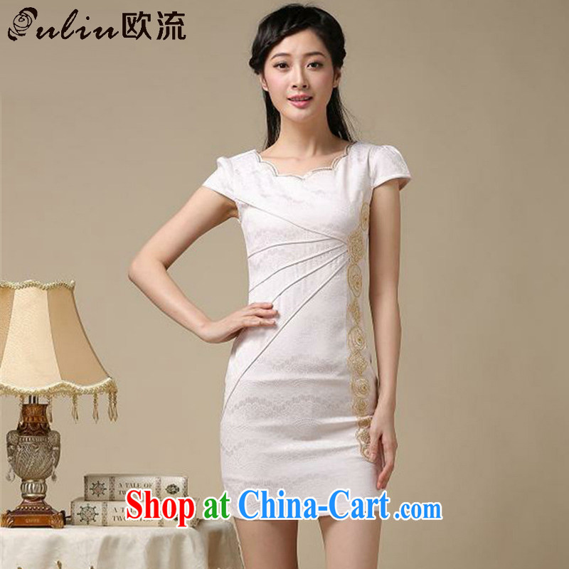 The stream summer elegance beauty short cheongsam retro improved daily cheongsam dress AQE 8168 apricot L