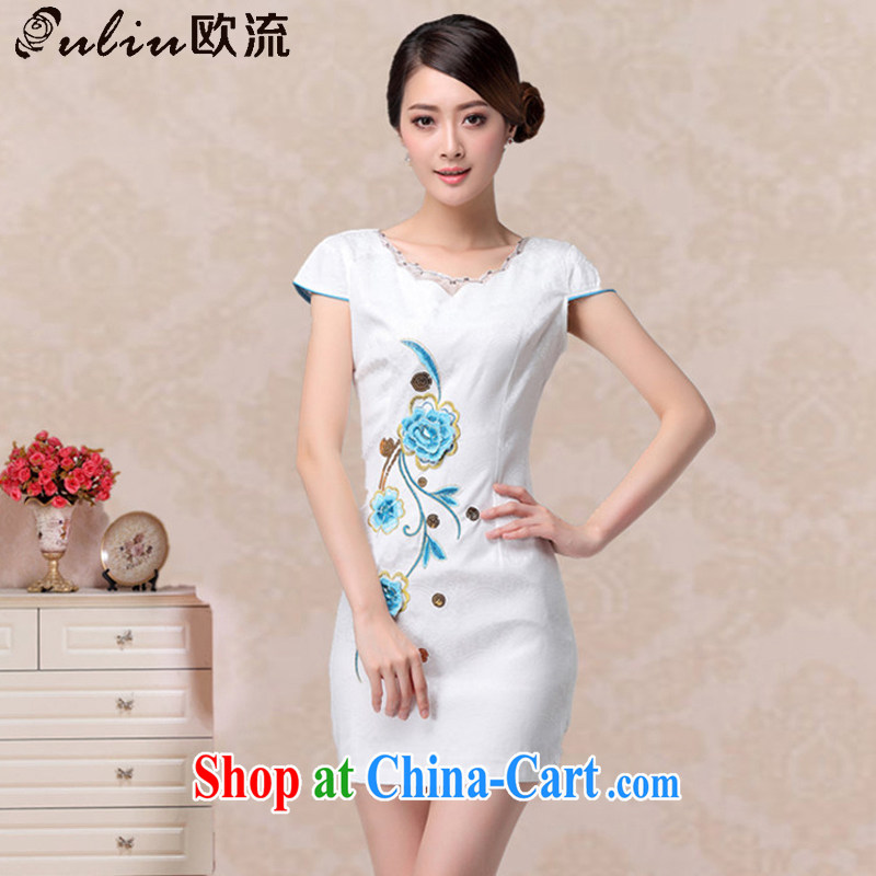 The retro-girl summer embroidered short dresses, fashionable round-collar dresses, dresses AQE 807 blue L