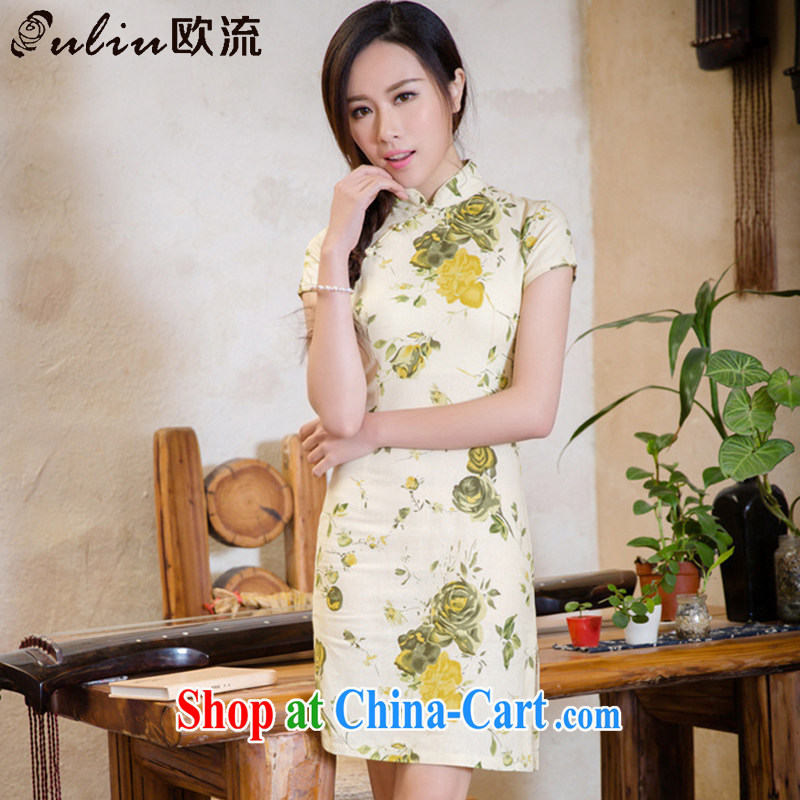 The first class elegance cultivating short-sleeved cotton the cheongsam retro style improved short code the cheongsam dress AQE 2088 yellow rose L