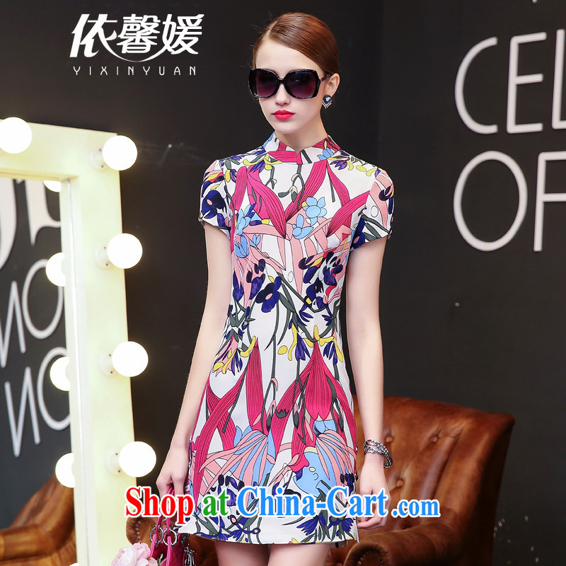 According to Xin Yuan new dress retro improved cheongsam 2015 high short-sleeve stamp beauty package and graphics thin sauna silk skirt Silk Dresses tulip XL