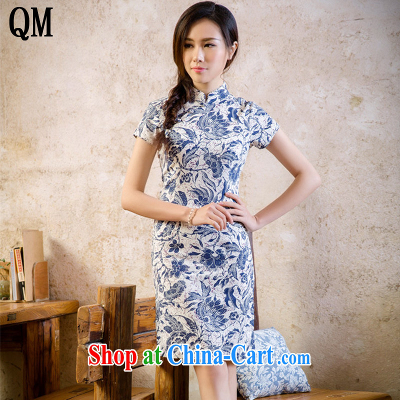 light at the Summer retro linen floral cheongsam dress cultivating improved daily cheongsam dress AQE 2088 blue and white porcelain XXL