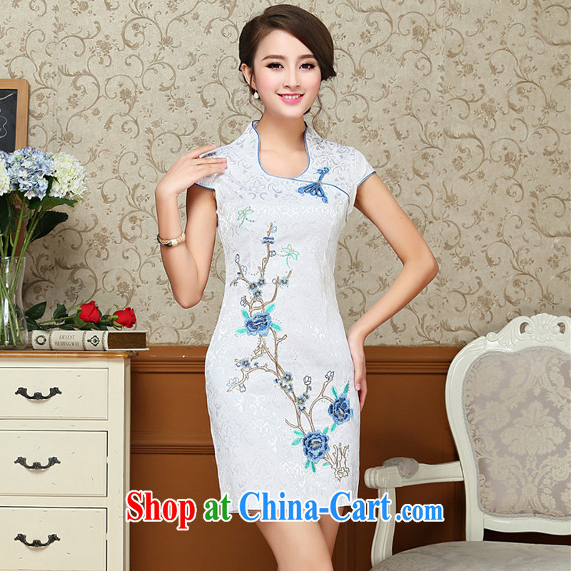 light at the Chinese antique dresses summer white blue embroidery cheongsam dress improved daily female Chinese 618 AQE XXL blue, light (at the end QM), online shopping