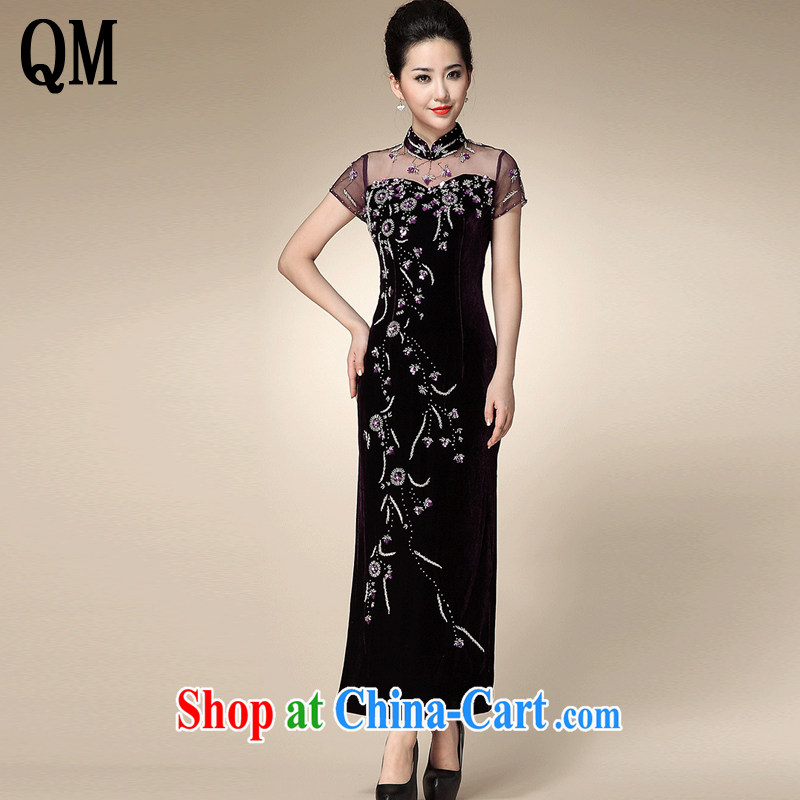 The end is really wool lace cheongsam middle-aged mother cheongsam dress bows dress Tang replace AQE 210 purple XXXXL