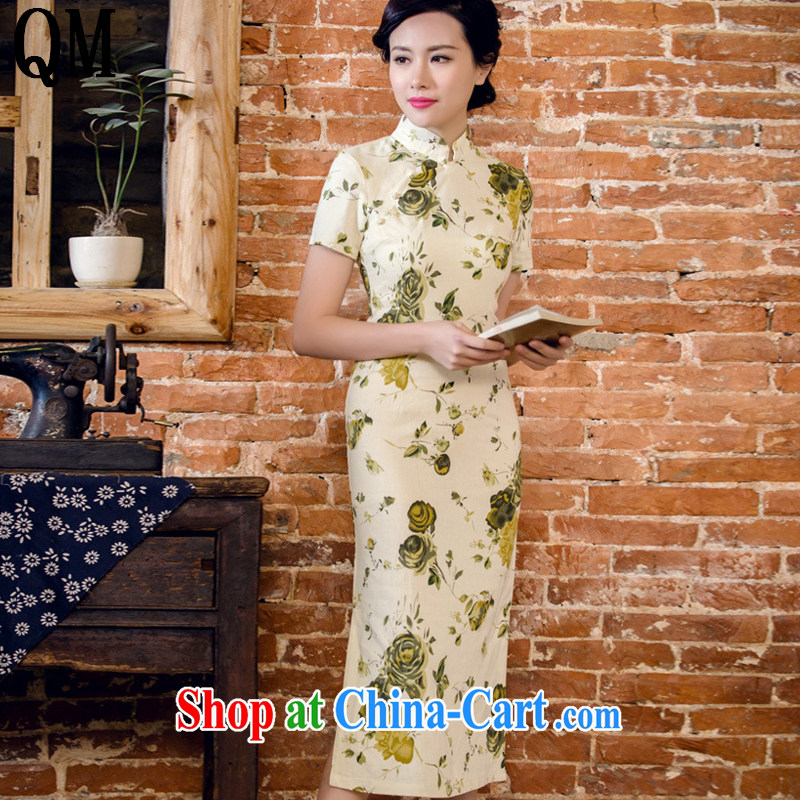 light cotton end the floral short sleeve dresses in antique long dresses summer Chinese hospitality service forgetting D. AQE 2063 yellow rose XXXL