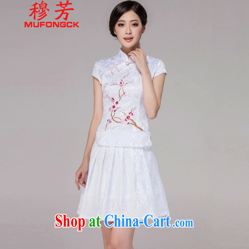 President Mubarak, summer 2015 new stylish girl Tang with daily cheongsam dress high-end retro style two-part kit 1125 white 2XL