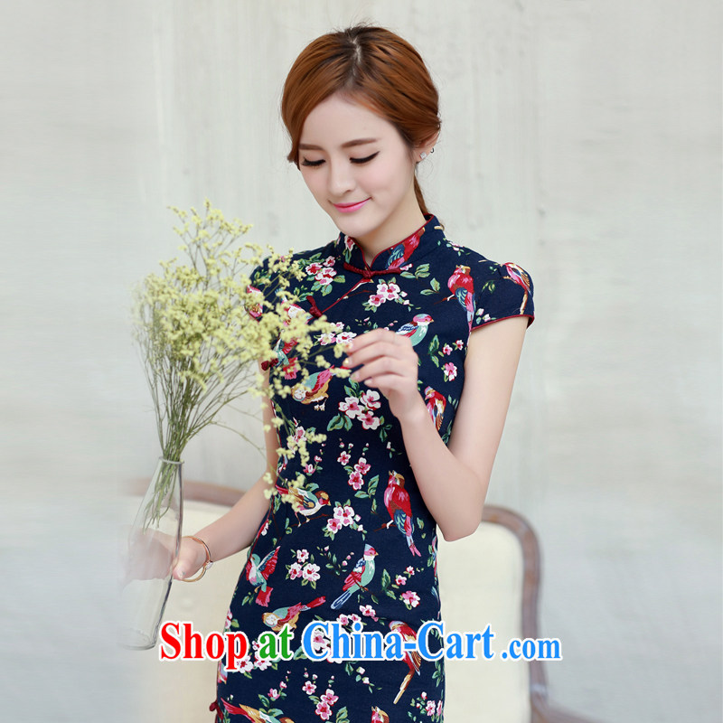 The Commission cotton robes 2015 new spring and summer is short, Retro Beauty Fashion improved daily cheongsam dress dark blue XL