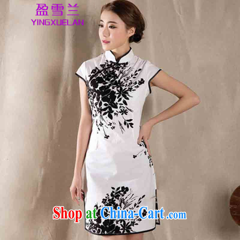 Surplus snow, summer 2015 new stylish improved retro cheongsam dress China wind stamp dress #1225 white XL