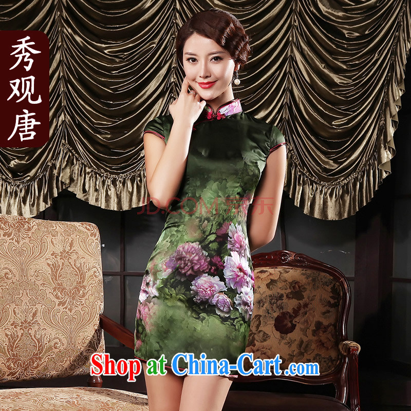 Cyd Ho Kwun Tong take love classical videos cheongsam_Summer retro thin cheongsam dress improved stylish picture color XXXL