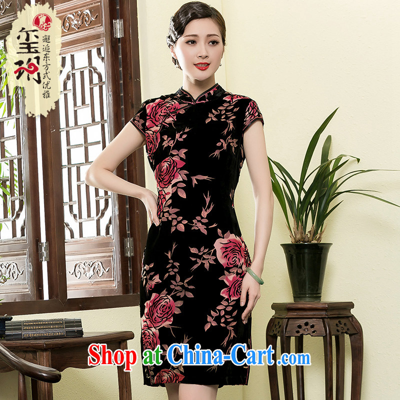 Yin Yue NARS summer 2015 New Rose silk black flower lint-free cloth antique dresses, elegant Chinese Dress picture color 4 XL