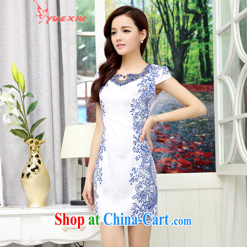 To show Summer dresses dresses 2015 summer new female ethnic style JINDIAN embroidered blue and white porcelain toast dress HC 559 white blue XXL