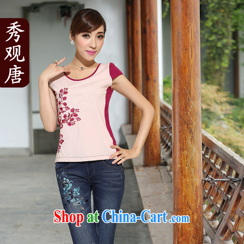 Cyd Ho Kwun Tong take-off half-summer 2015 summer new short-sleeved shirt T China wind girls cotton short T-shirt pink L
