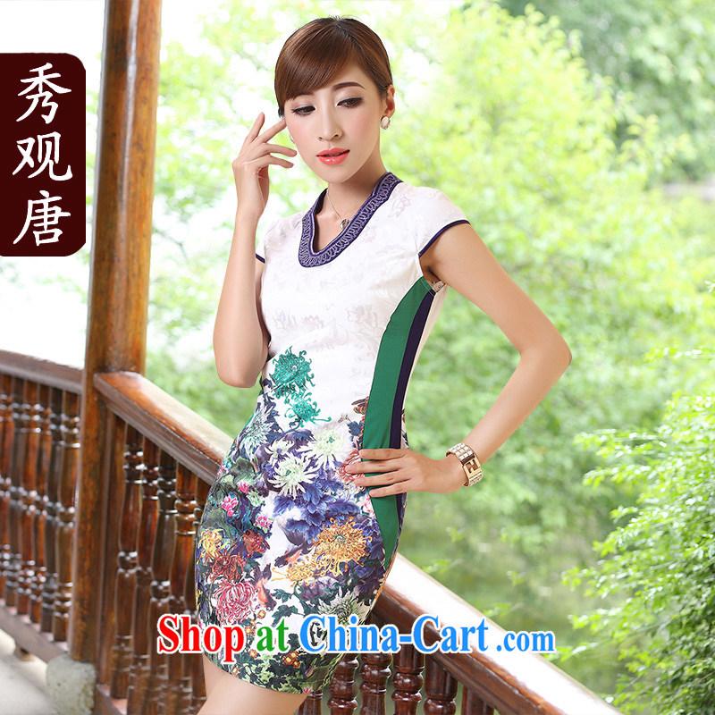 The CYD HO Kwun Tong' light summer 2015 summer new improved cheongsam dress retro fashion stamp duty Cultivating Female white XXL
