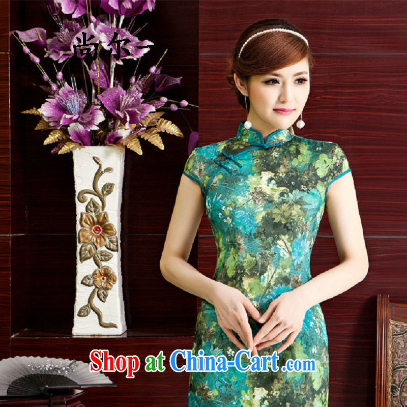 Still, 12,015 new dresses, spring and summer with improved stylish short, Retro dresses dresses daily dress qipao gown 5222 green XXL