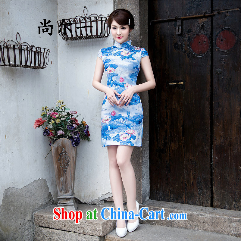 There's a qipao skirts summer beauty and Stylish retro improved casual elegance female cheongsam dress Chinese cheongsam daily 5223 light blue XXL