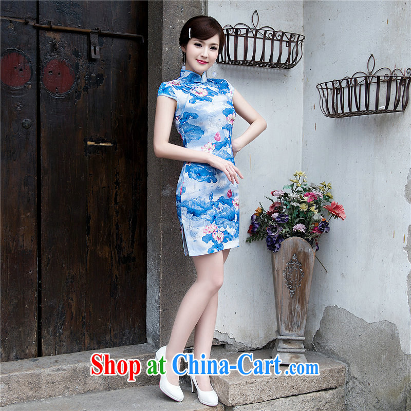 Still, the cheongsam dress summer beauty and Stylish retro improved casual elegance female cheongsam dress Chinese cheongsam daily 5223 light blue XXL, yet, and that, on-line shopping