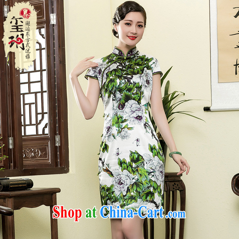 Yin Yue NARS summer 2015 new heavy Silk Cheongsam manually daily improvement Ms. stamp antique dresses picture color XXL