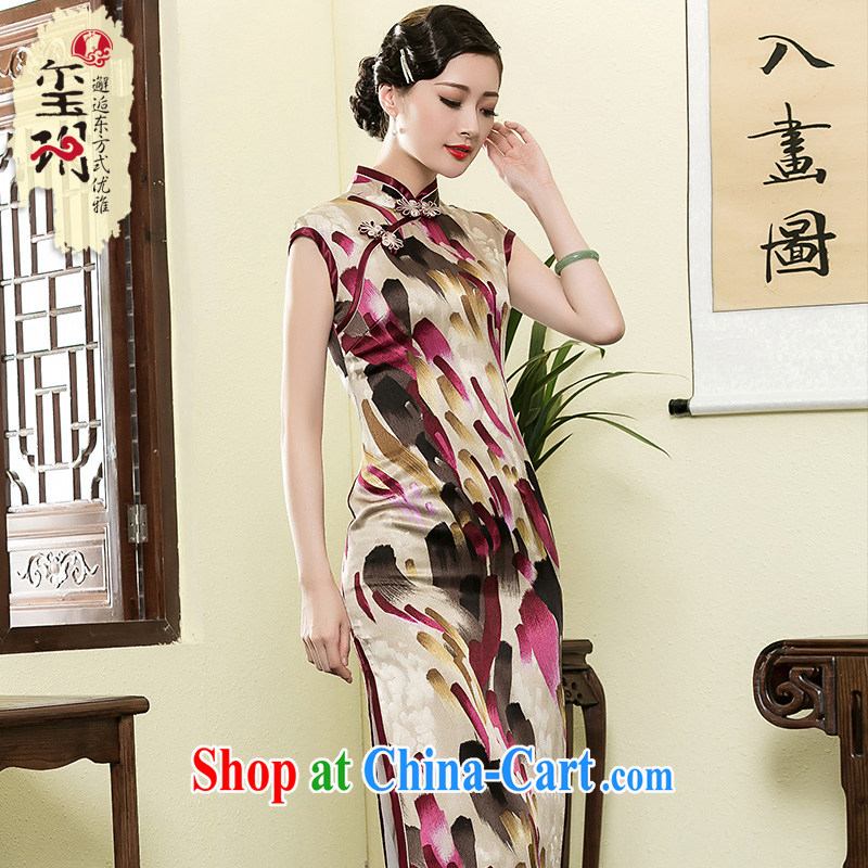 Yin Yue NARS summer 2015 New Silk long qipao art stamp improved short-sleeved Ms. replace dresses picture color M