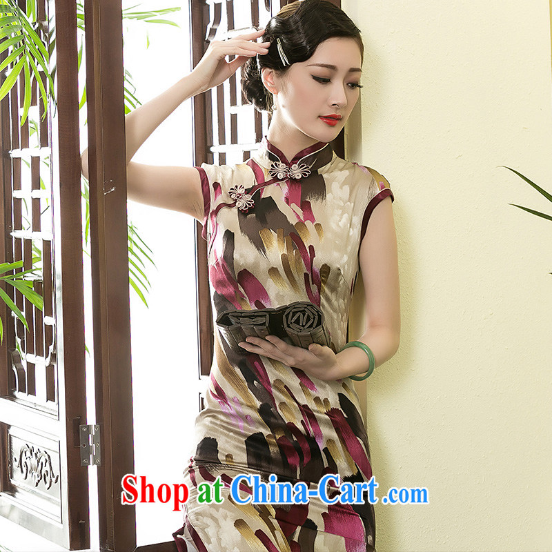 Yin Yue NARS summer 2015 New Silk long qipao art stamp improved short-sleeved, Chinese Dress picture color M seal, Yin Yue, shopping on the Internet